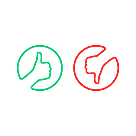 round thin line thumbs up and down logo Logo