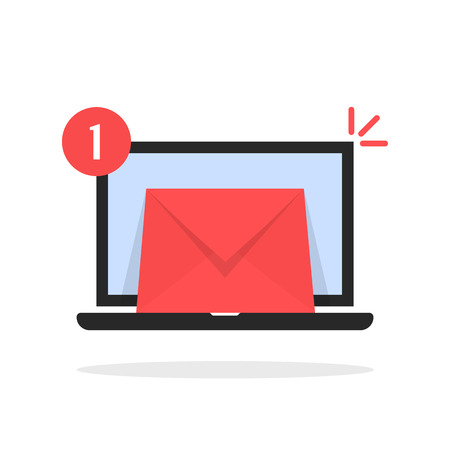 red email message icon with laptop Illustration