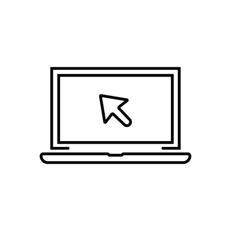 black linear laptop with cursor icon