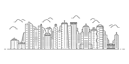 black thin line cityscape with skyscrapers