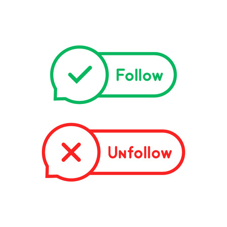 thin line follow and unfollow bubble