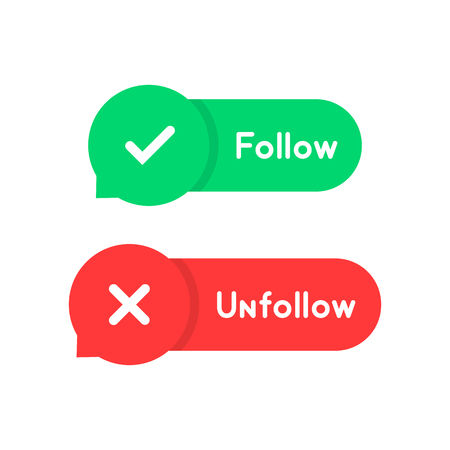 red and green follow and unfollow bubble
