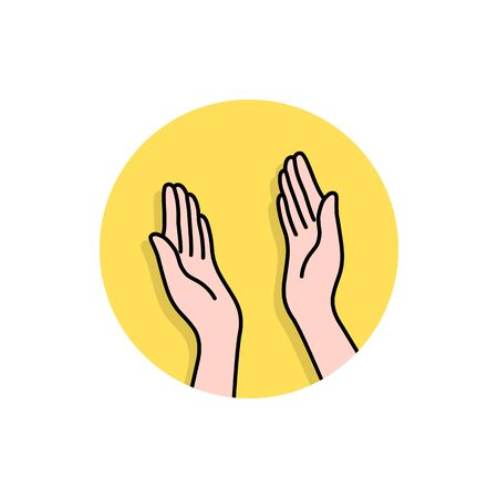 linear hands like high five icon Illustration