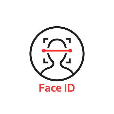 simple thin line face id scan illustration
