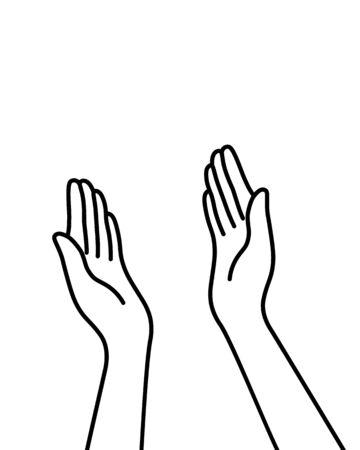manos de línea delgada simple como highfive ilustración