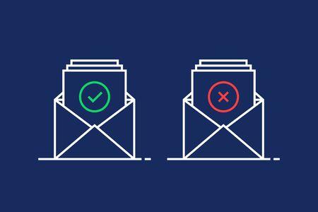 deux e-mails linéaires comme l'illustration de confirmation et de rejet
