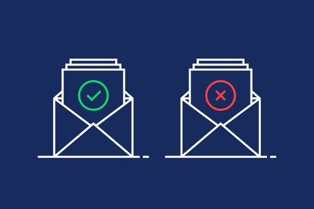 two linear email like confirm and reject illustration