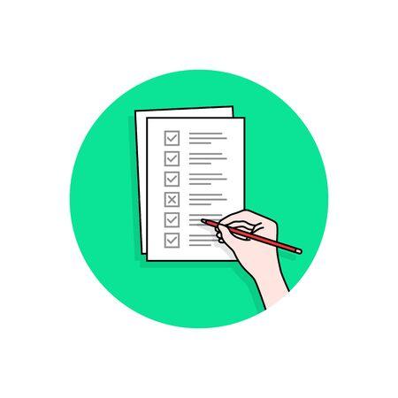 Cartoon-Hand mit Checklisten-Aufgabe oder Quiz-Illustration Vektorgrafik