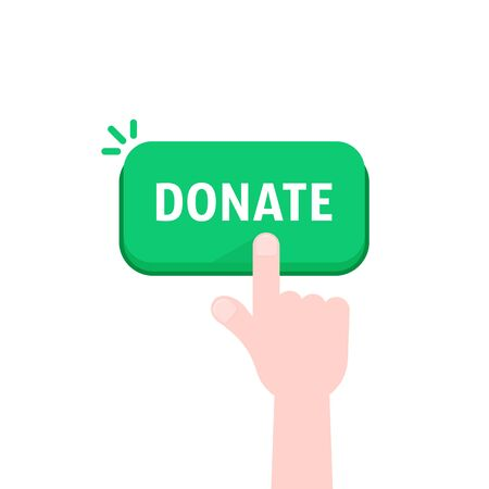 hand push on donate green button
