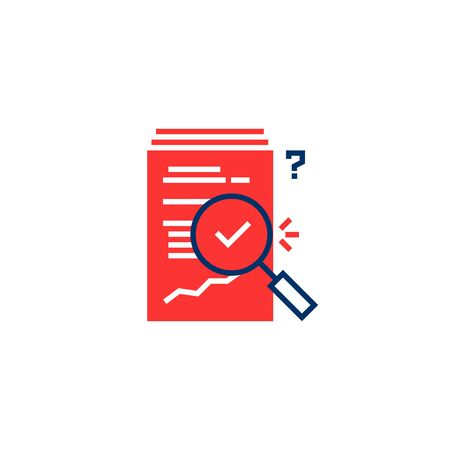 red and blue report overview icon