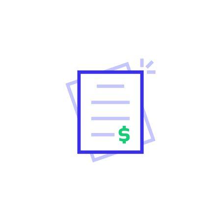 color invoice bill thin line logo