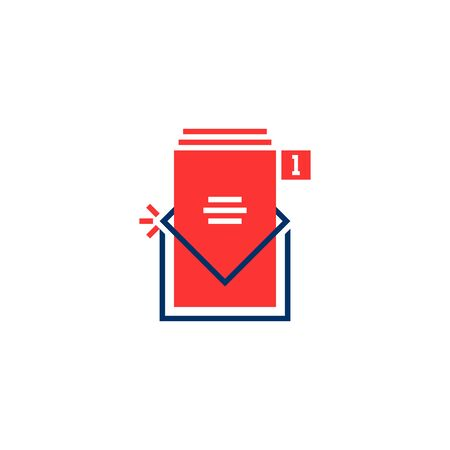 red and blue inbox notice