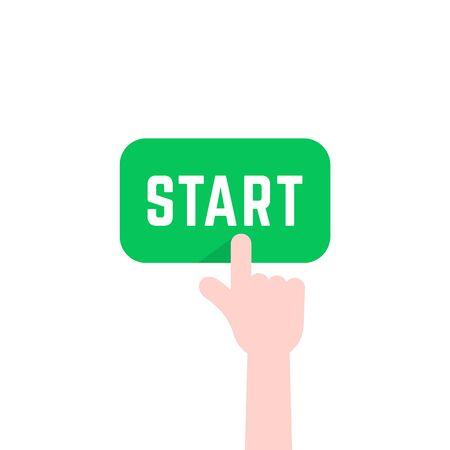 finger pushing green start button