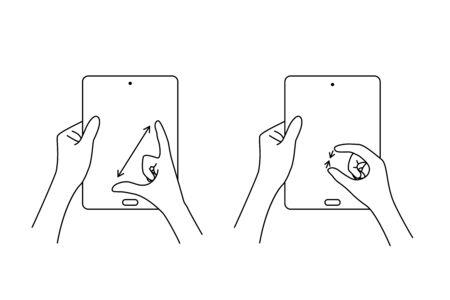 multi touch hand gestures for tablet Foto de archivo - 131190562