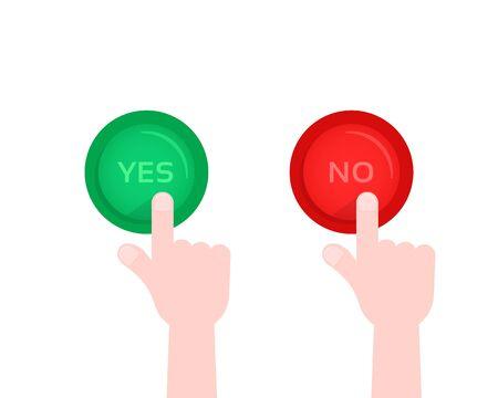 main appuyant sur le bouton oui et non