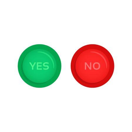 pulsanti rossi e verdi sì e no Vettoriali