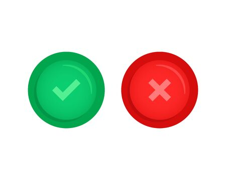 set of correct or incorrect button Ilustrace