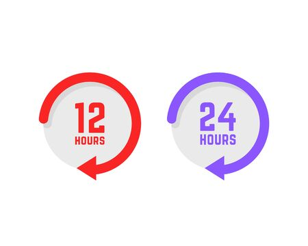 set of twenty-four hours a day buttons