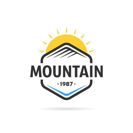 mountain in hexagon template  イラスト・ベクター素材