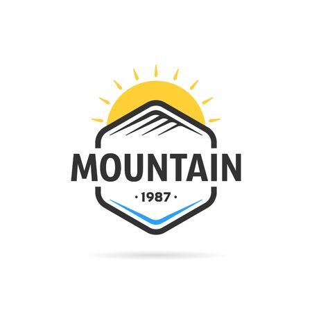 mountain in hexagon template Illustration