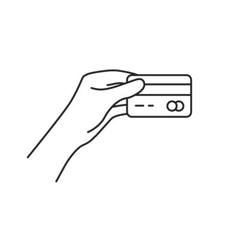 thin line hand holding credit card. flat stroke style trend modern lineart graphic art design on white background. concept of tap to pay or contactless payment and money transaction for shopping 向量圖像
