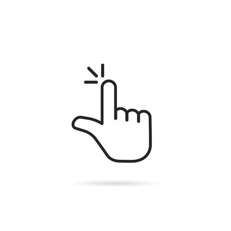 pointer hand like thin line click icon Banque d'images - 135048664