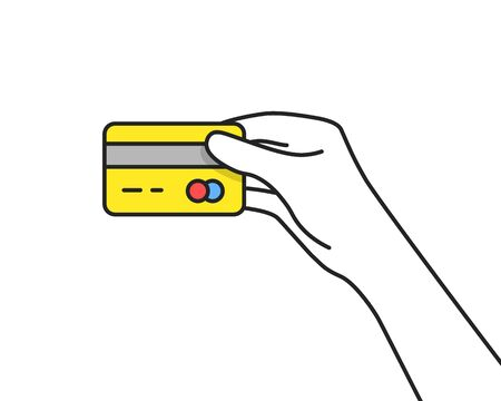 yellow credit card in thin line hand. concept of tap to pay or contactless payment and money transaction for shopping. flat cartoon style trend modern lineart graphic art design isolated on white