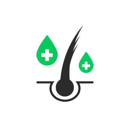 icône simple de soins capillaires aux pointes fourchues