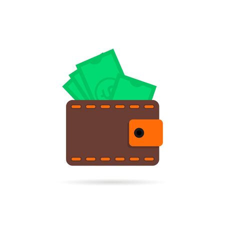 wallet with money icon with shadow Ilustracja