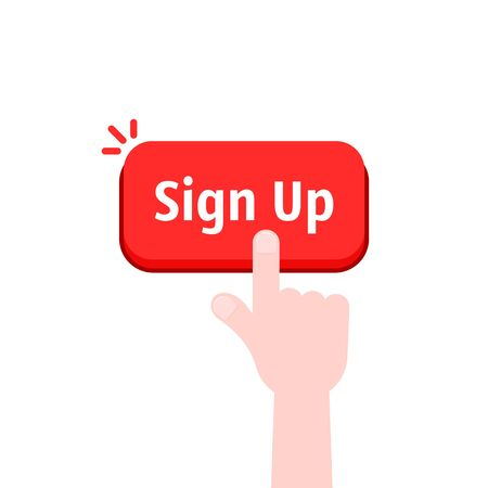 simple hand with red sign up button