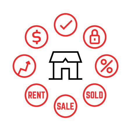 thin line real estate agency icons