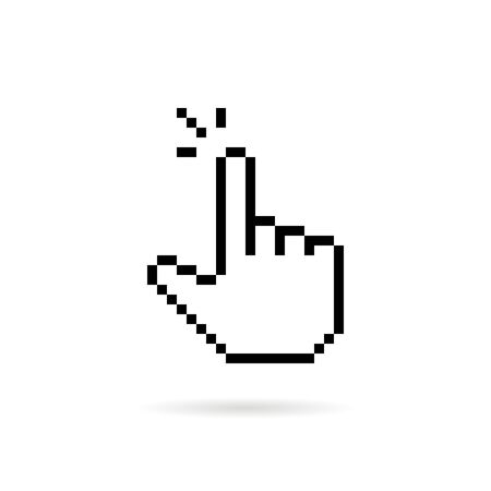 click finger like black pixel art icon Illustration