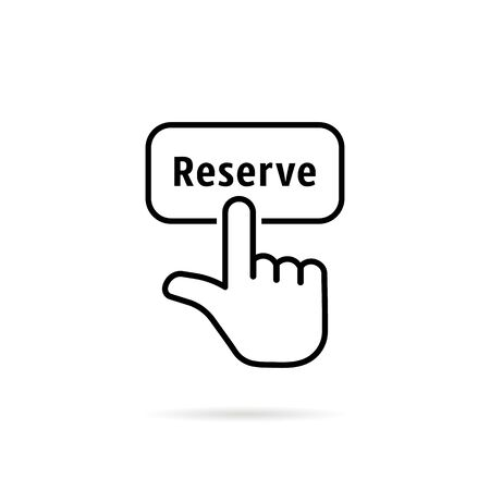 thin line reserve button with black hand