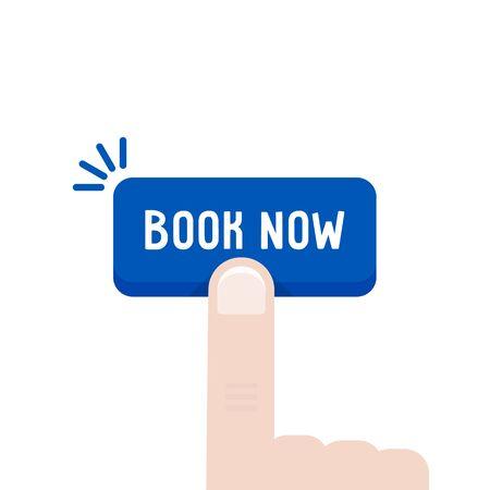 finger press on button like online booking Illustration