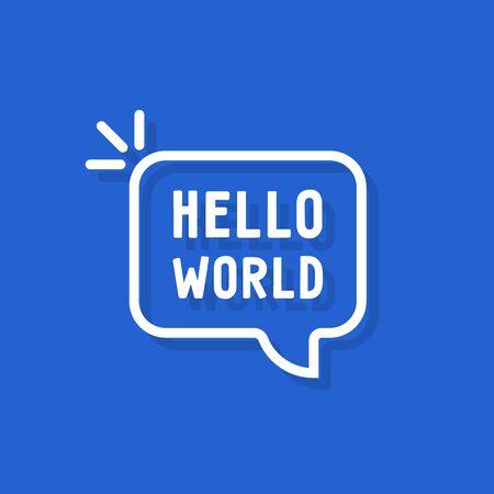 hello world text in speech bubble Ilustración de vector