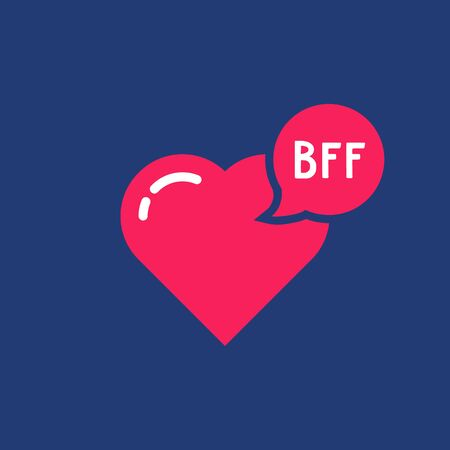 simple bff word with pink heart 向量圖像