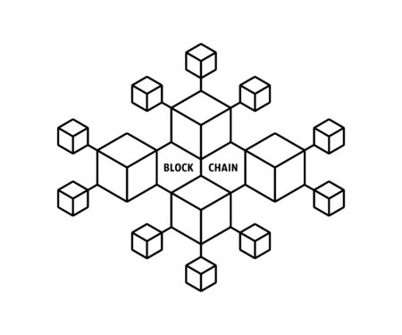 blockchain icon like thin line boxes