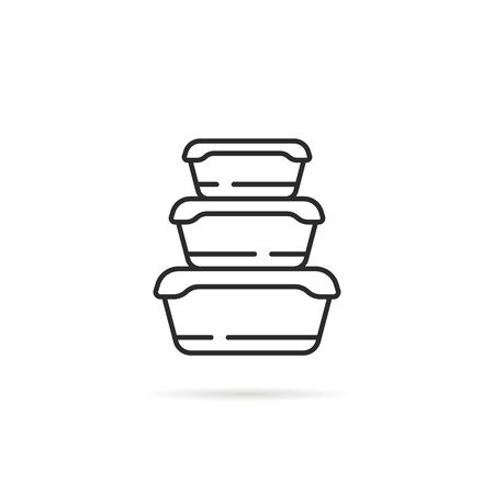 linear stack of plastic food containers