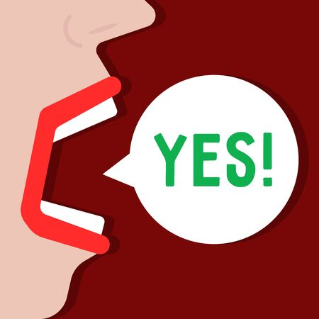 woman says yes word like acceptance