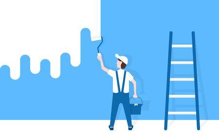 worker man paints wall near ladder