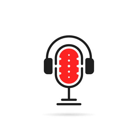 simple podcast logo with headphone