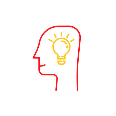 thin line light bulb in human head