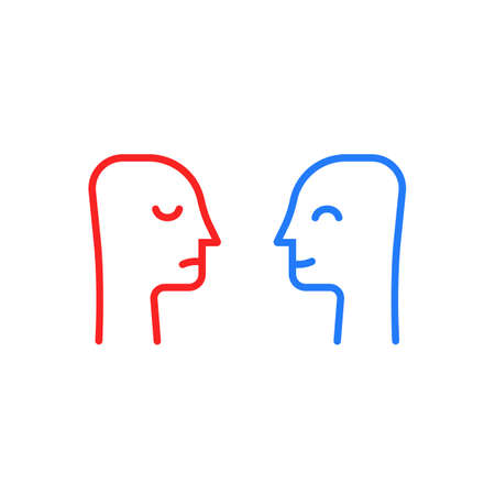 blue and red head like positive or negative Vectores