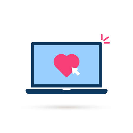 click on heart button with laptop