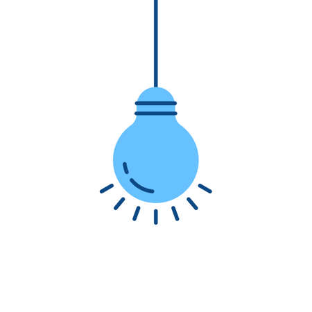 blue bulb hanging on wire Иллюстрация