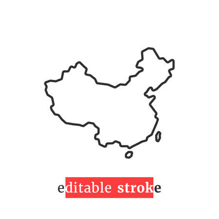 minimal editable stroke china map icon