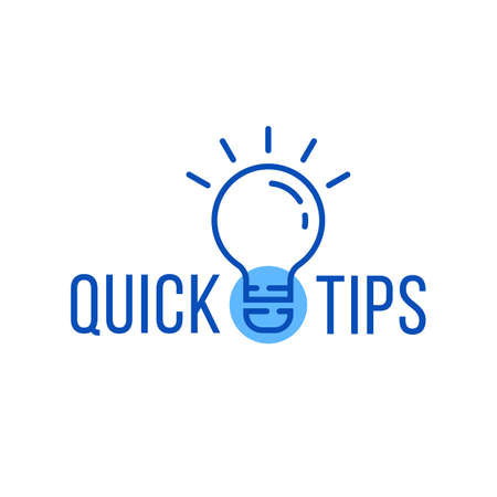 quick tips with blue thin line bulb Vetores