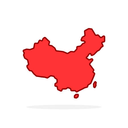 red cartoon linear china simple icon