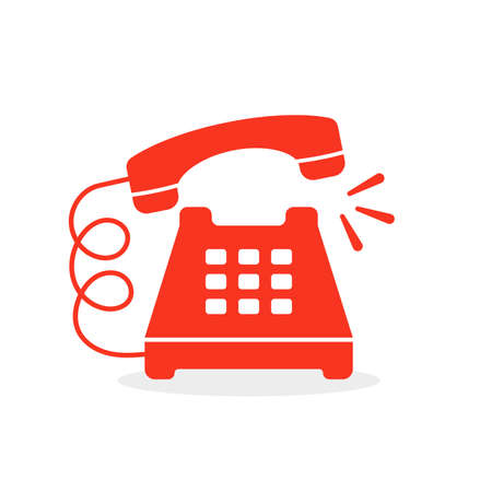 red vintage ringing phone icon