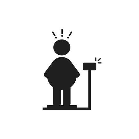 black stick figure man on scales